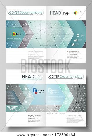 Business templates for bi fold brochure, magazine, flyer, booklet or annual report. Cover design template, easy editable vector, abstract flat layout in A4 size. Geometric background, connected line and dots. Molecular structure. Scientific, medical, tech