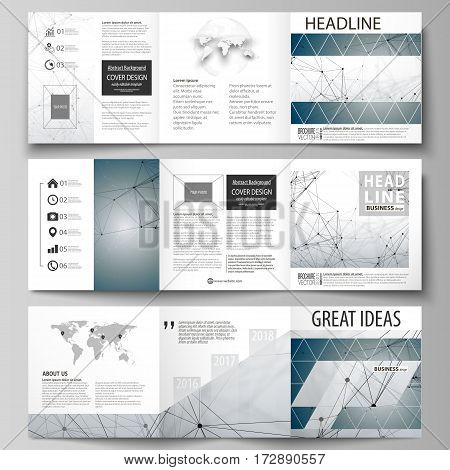 Set of business templates for tri fold square design brochures. Leaflet cover, abstract flat layout, easy editable vector. DNA and neurons molecule structure. Medicine, science, technology concept. Scalable graphic.