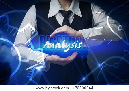 Business, Technology, Internet And Networking Concept. Business Woman Chooses Icon - Analysis