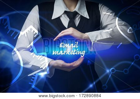 Business, Technology, Internet And Networking Concept. Business Woman Chooses Icon - Email Marketing