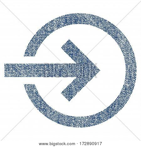 Import vector textured icon for overlay watermark stamps. Blue jeans fabric vectorized texture. Symbol with dust design. Blue ink rubber seal stamp with fiber textile structure.