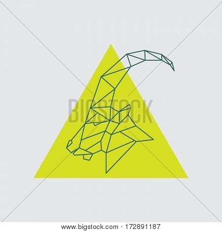 Geometric head mountain sheep with side view. Vector illustration.