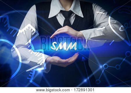 Business, Technology, Internet And Networking Concept. Business Woman Chooses Icon - Smm
