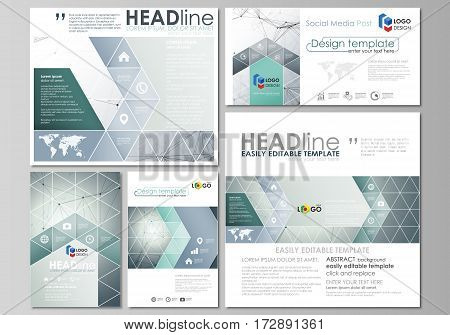 Social media posts set. Business templates. Easy editable abstract flat design template, vector layouts in popular formats. Genetic and chemical compounds. Atom, DNA and neurons. Medicine, chemistry, science or technology concept. Geometric background.