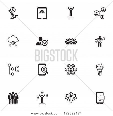 Flat Design Icons Set. Icons for business management finance strategy planning analytics banking communication social network affiliate marketing.