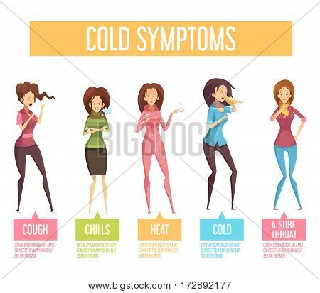Flu cold or seasonal influenza symptoms flat infographic poster women feel fever chills cough sore throat vector illustration