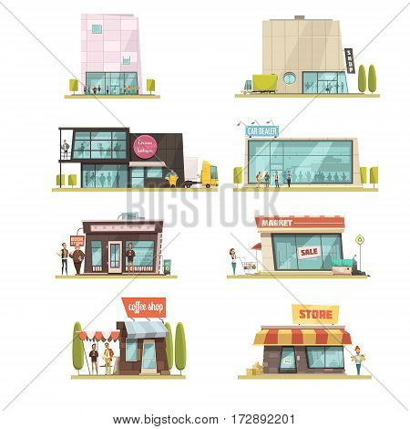 Supermarket building set with coffee shops symbols cartoon isolated vector illustration