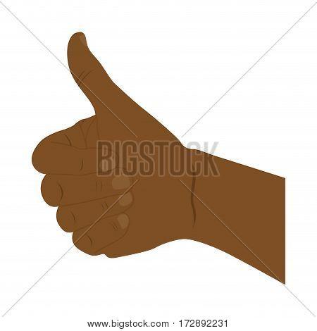 hand all good dark skin icon, vector illustration design