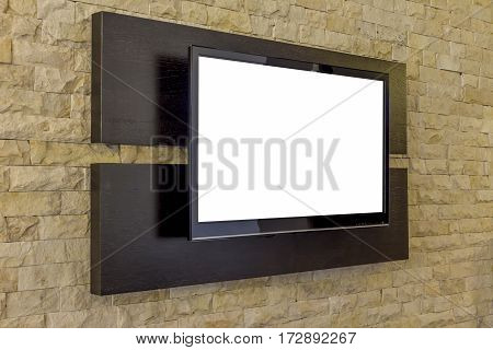 TV display on new brick wall background. Modern living room interior.