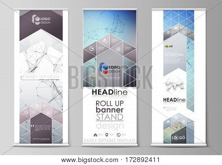 Set of roll up banner stands, flat design templates, abstract geometric style, modern business concept, corporate vertical vector flyers, flag layouts. Compounds lines and dots. Big data visualization in minimal style. Graphic communication background.