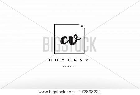 Cv C V Hand Writing Letter Company Logo Icon Design