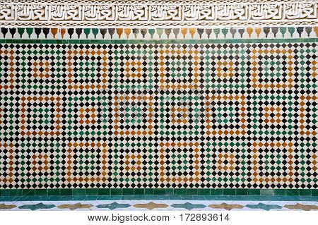 Islamic mosaic Moroccan style on the wall Meknes Morocco