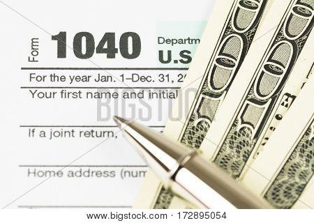 U.S. Tax form business financial concept. form 1040