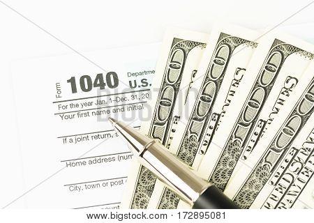 U.S. Tax form business financial concept, form 1040