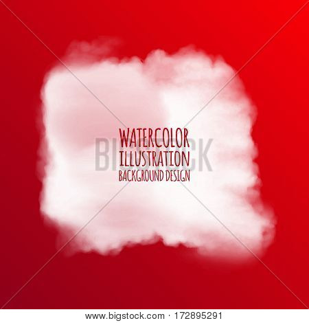 White watercolor cloud on red background for design. Vector illustration