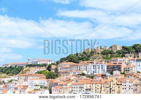 View over old town lisbon and Castelo de Sao Jorge