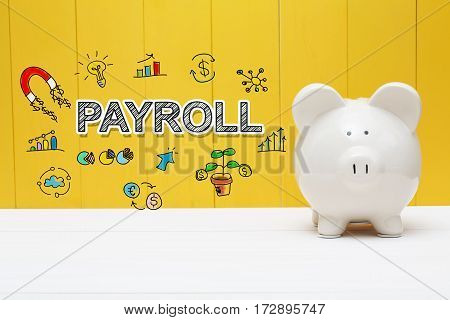 Payroll Text With Piggy Bank