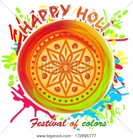 Beautiful colorful mandala. Design element for festival of colors, Happy Holi. Circular pattern in arabesque style. Eight pointed star on the bright multicolored background. Lotus. Vector illustration