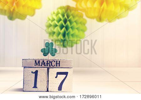 Saint Patricks Day Green Clover With Calendar