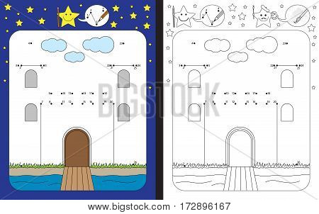 Preschool worksheet for practicing fine motor skills and recognising numbers - connecting dots by numbers to finish illustration of a castle