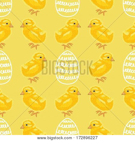 Happy Easter. Holiday seamless pattern with cute chicks and eggs on a yellow background. Hand drawn background.