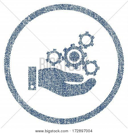 Mechanics Service vector textured icon for overlay watermark stamps. Blue jeans fabric vectorized texture. Symbol with scratched design. Blue ink rubber seal stamp with fiber textile structure.
