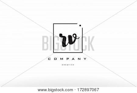 Rv R V Hand Writing Letter Company Logo Icon Design