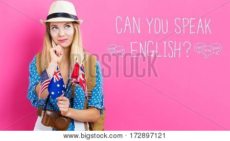 Can You Speak English Text With Young Woman With Flags