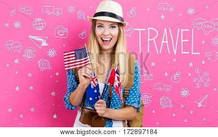 Travel text with young woman with flags of English speaking countries