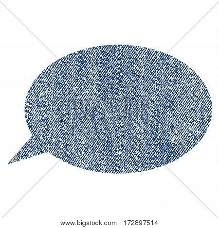 Message Cloud vector textured icon for overlay watermark stamps. Blue jeans fabric vectorized texture. Symbol with scratched design. Blue ink rubber seal stamp with fiber textile structure.