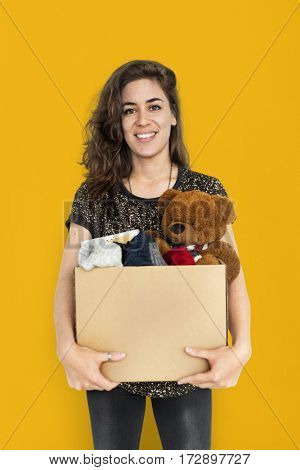 Woman Studio Portriat Casual Carrying a Box Isolated