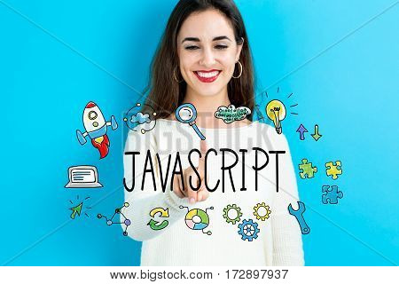 Java Script Text With Young Woman