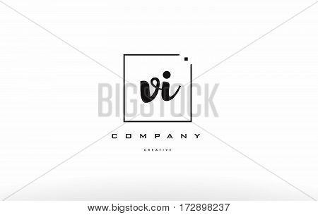Vi V I Hand Writing Letter Company Logo Icon Design