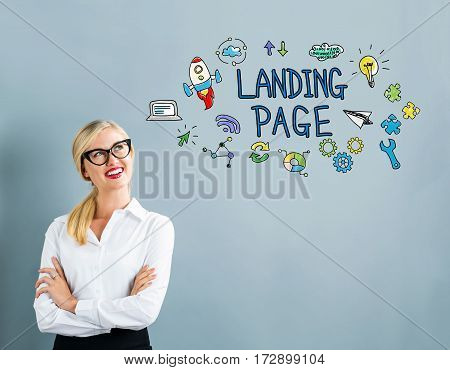 Landing Page Text With Business Woman