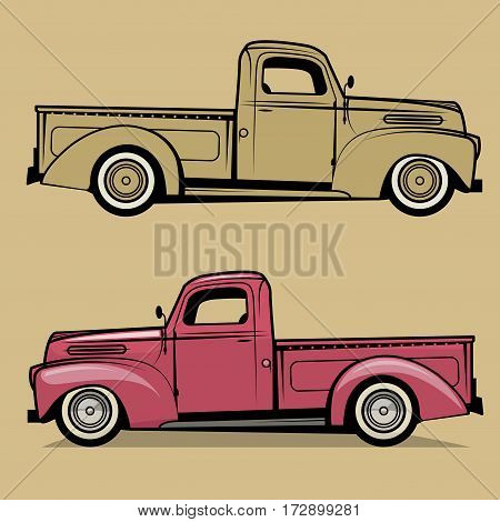 Retro pickup truck on color background. Vector illustration