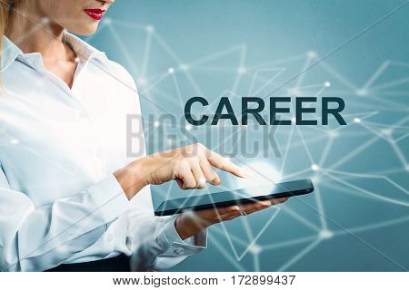Career Text With Business Woman