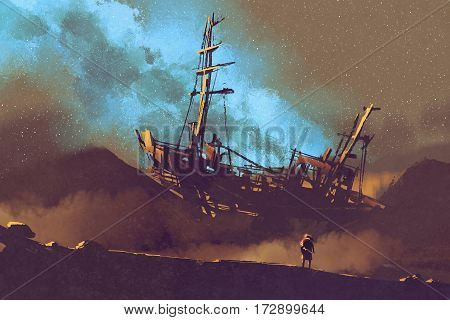 night scene of abandoned ship on the desert with stary sky, illustration painting