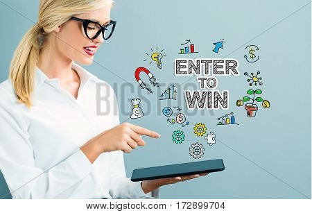 Enter To Win Text With Business Woman