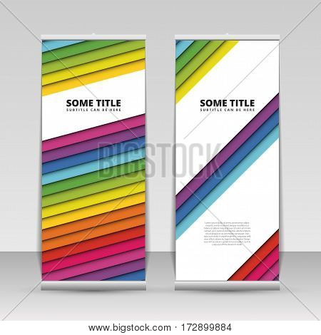 Colorful roll up banner with stripes. Vector illustration