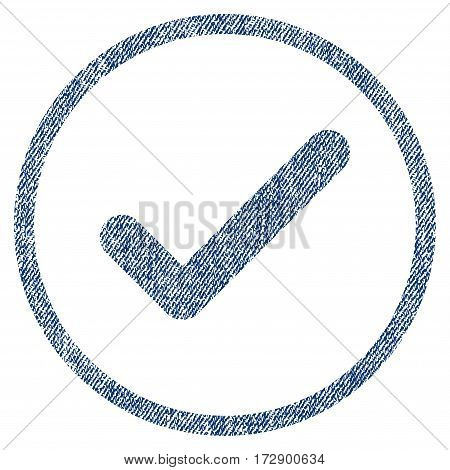 Ok vector textured icon for overlay watermark stamps. Blue jeans fabric vectorized texture. Symbol with scratched design. Blue ink rubber seal stamp with fiber textile structure.