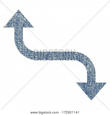 Opposite Bend Arrow vector textured icon for overlay watermark stamps. Blue jeans fabric vectorized texture. Symbol with unclean design. Blue ink rubber seal stamp with fiber textile structure.