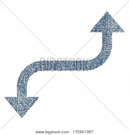 Opposite Curved Arrow vector textured icon for overlay watermark stamps. Blue jeans fabric vectorized texture. Symbol with scratched design. Blue ink rubber seal stamp with fiber textile structure.