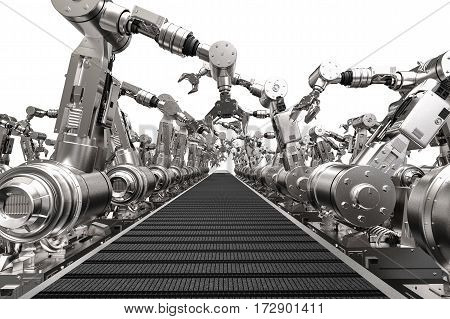 Robotic Arms With Empty Conveyor Belt