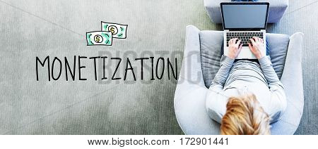 Monetization Text With Man Using A Laptop