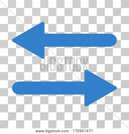 Arrows Exchange Horizontal vector pictogram. Illustration style is flat iconic cobalt symbol on a transparent background.