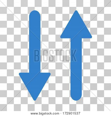 Arrows Exchange Vertical vector icon. Illustration style is flat iconic cobalt symbol on a transparent background.