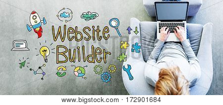 Website Builder Text With Man Using A Laptop