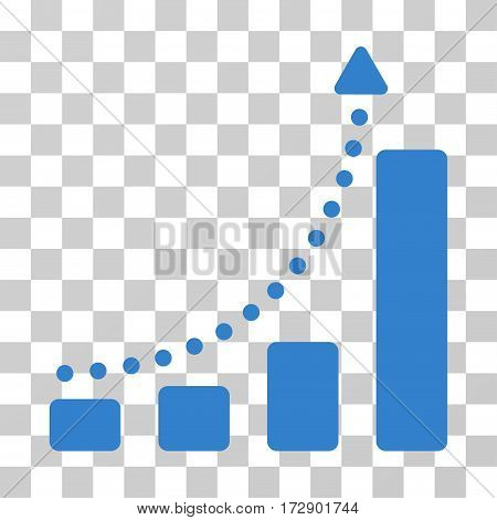 Bar Chart Trend vector pictogram. Illustration style is flat iconic cobalt symbol on a transparent background.