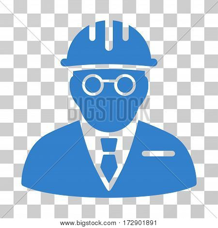 Blind Engineer vector pictograph. Illustration style is flat iconic cobalt symbol on a transparent background.