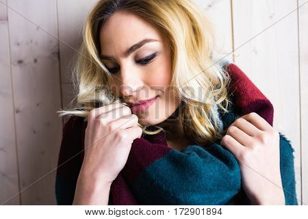 Beautiful woman posing against texture background